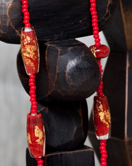 Red Goldleaf Beads